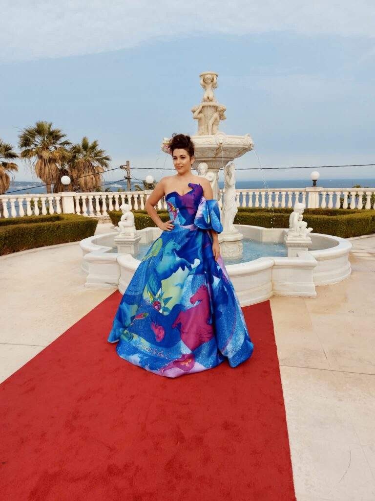 Nicola wearing Charles & Ron at Cannes Film Festival GSF Awards 2021